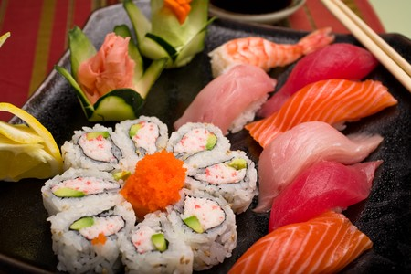 Wasabi Sushi - California Roll and Mixed Sashimi