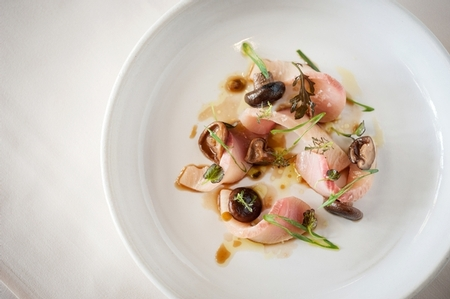 NINE - TEN - NINE-TEN Hamachi Sashimi with Pickled Shiitake Mus