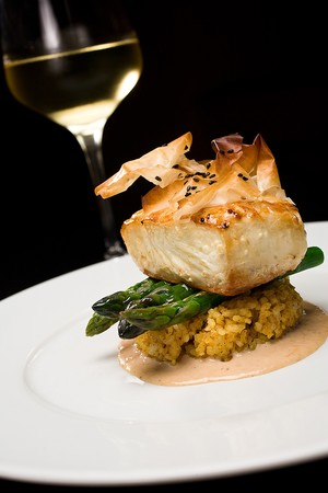 Sally's Seafood on the Water - Filo Crusted Halibut