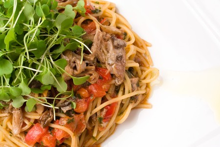 Spaghetti with oyster mushrooms
