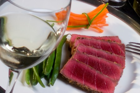 Seared Ahi and wine