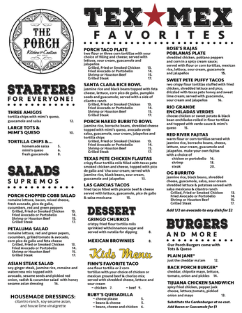 The Porch Kitchen & Cantina - Summer Menu