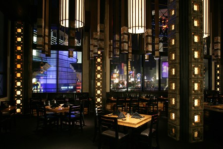 Sushi Roku - Tall Beams with Lights in Dining Area