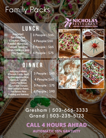 Nicholas Restaurant - Family Packs
