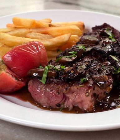 ZINC - Steak Frites with Wild Mushroom Sauce
