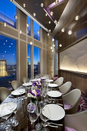 TWIST by Pierre Gagnaire - Hanging lights and purple flowers