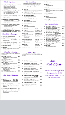 Pho Minh & Grill - Pacific Beach - Pho Minh & Grill menu
