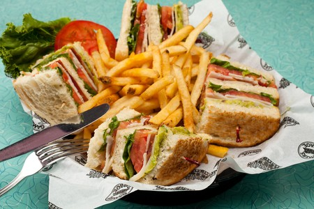 Corvette Diner - Club Sandwich with Fries