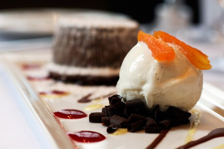Davio's - Warm Chocolate Cake with Vanilla Gelato