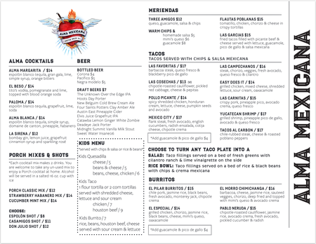 Alma Mexicana - Alma Summer Menu